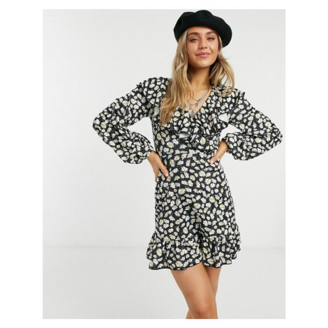 ASOS DESIGN mini wrap dress with frill neck and pep hem in black base daisy print