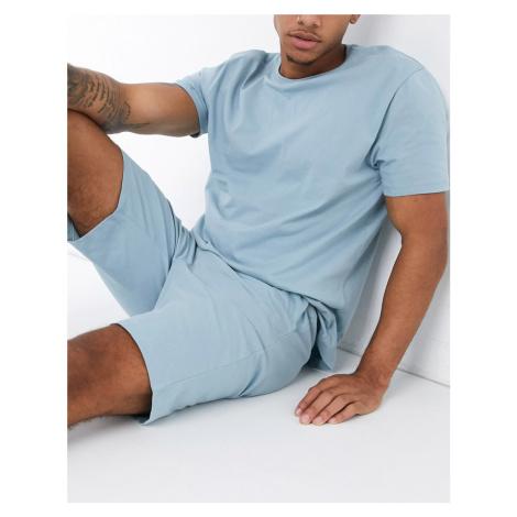 ASOS DESIGN lounge t-shirt and short pyjama set in blue