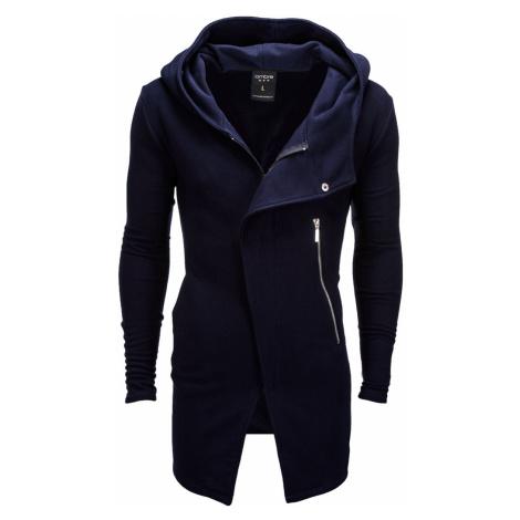 Pánská mikina na zip s kapucí Hugo navy Ombre Clothing