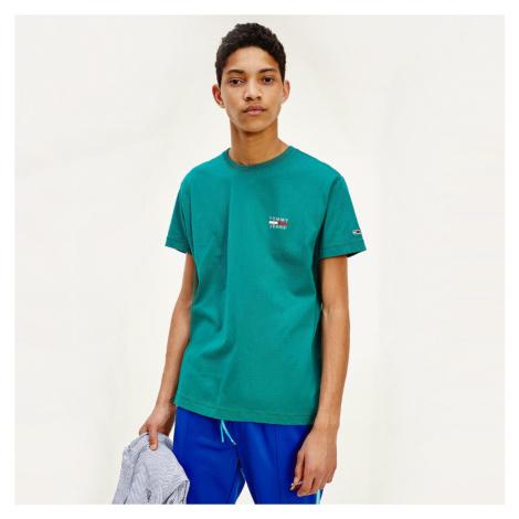 Tommy Jeans pánské zelené tričko Chest Tommy Hilfiger