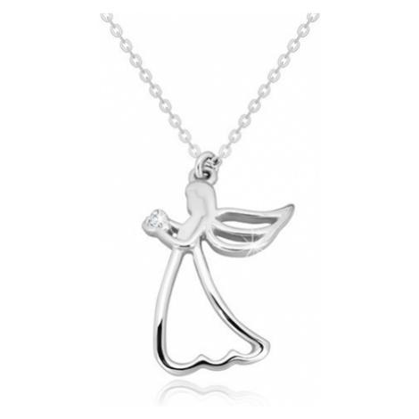 Stříbrný 925 náhrdelník - vyřezávaný anděl se srdíčkem, čirý diamant Šperky eshop