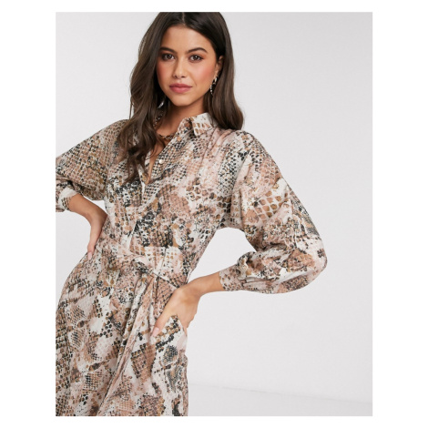 Closet kimono sleeve shirt dress in light snake print-Beige