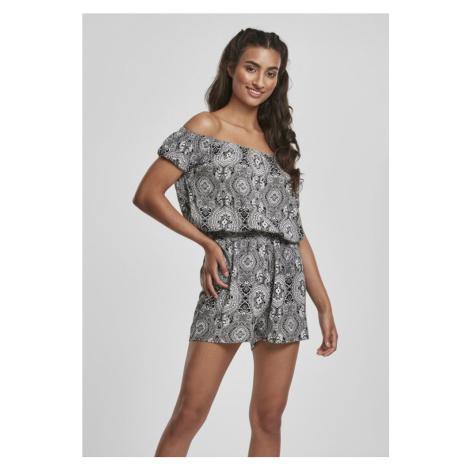 Ladies AOP Off Shoulder Short Jumpsuit - bandanan Urban Classics