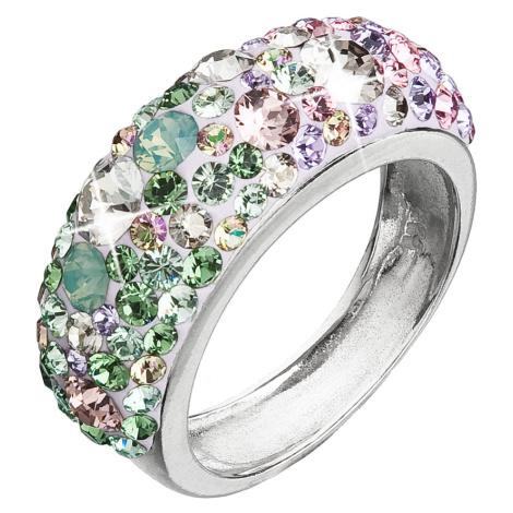 Evolution Group Stříbrný prsten s krystaly Swarovski mix barev fialová zelená růžová 35031.3