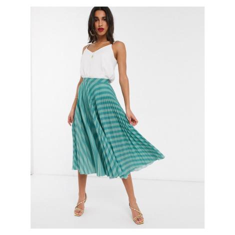 Closet London pleated skirt in teal stripe-Blue