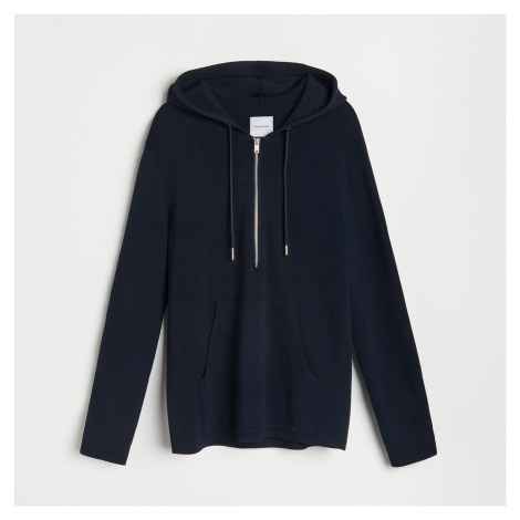 Reserved - Propínací svetr s kapucí - Tmavomodrá