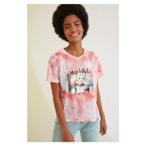 Trendyol Pink Harley Quinn Licensed Batik Printed Semifitted Knitted T-Shirt