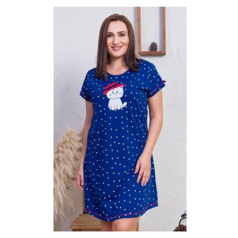 Dámská noční košile s krátkým rukávem Kočka s kloboukem, 4XL, tmavě modrá Vienetta Secret
