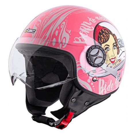 Helma na skútr W-TEC FS-701PG Pink Life Barva růžovo-bílá
