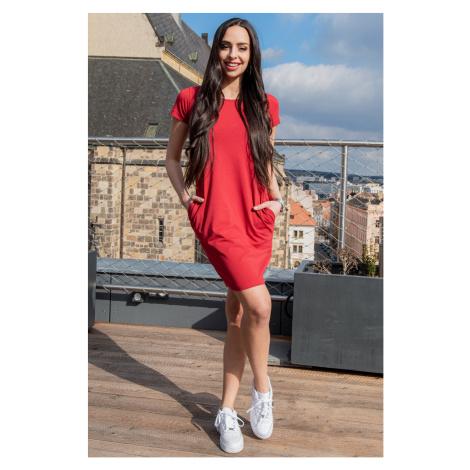 Bordové šaty s krátkým rukávem Sintimo