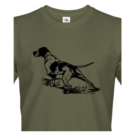 Tričko pro myslivce K noze... decentní potisk s loveckým psem na triku BezvaTriko