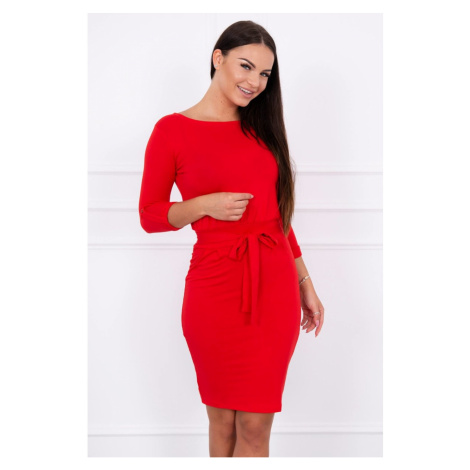 Dress with a roll-up sleeve red Kesi
