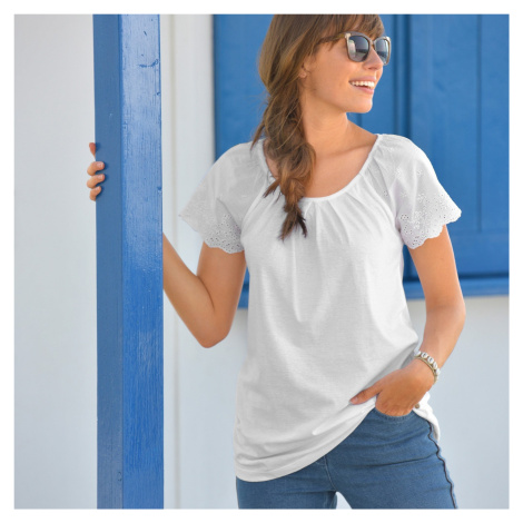 Blancheporte Jednobarevné tričko s anglickou výšivkou bílá