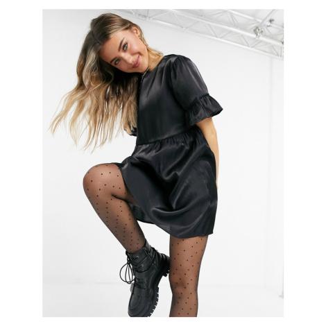 Lola May smock dress in black shimmer
