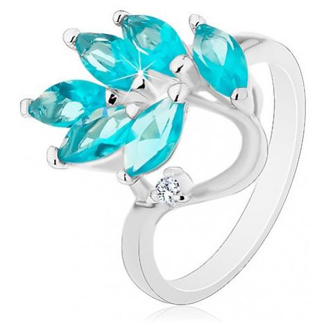 Prsten ve stříbrné barvě, větvička se zirkonovými lístky akvamarínové barvy Šperky eshop