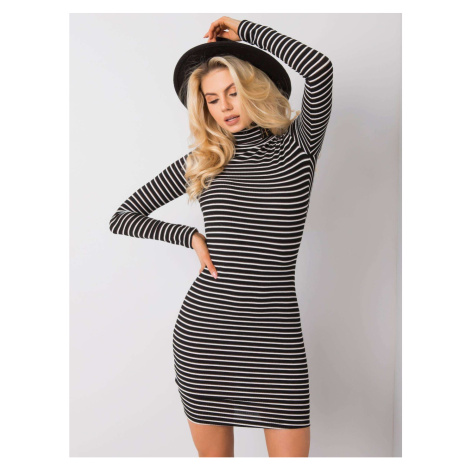 RUE PARIS Black and white turtleneck dress