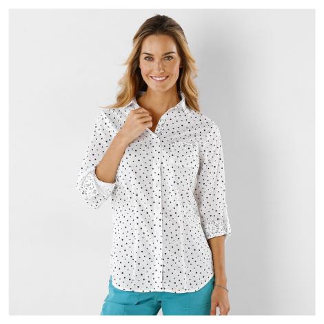 Blancheporte Košile s potiskem puntíků puntíky bílá/nám. modrá