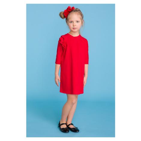 Elegantní dívčí šaty dětské s jemnými volánky na rameni