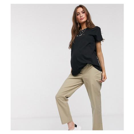 ASOS DESIGN Maternity straight leg trouser in comfort stretch stone slubby cotton