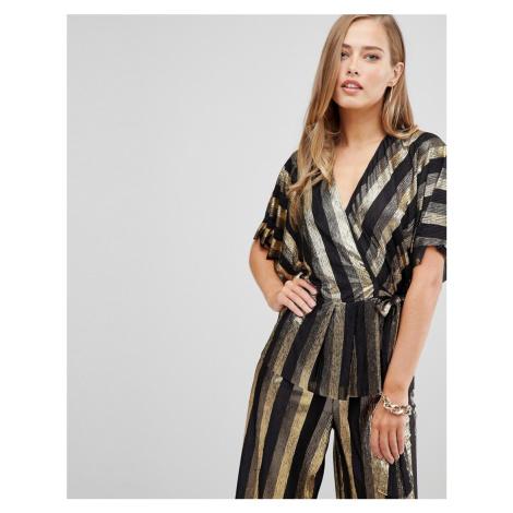 Flounce wrap top in gold metallic stripe-Black Flounce London