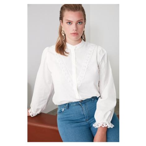 Trendyol White Embroidered Shirt