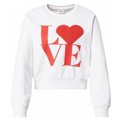 ONLY Mikina 'Love' bílá / červená