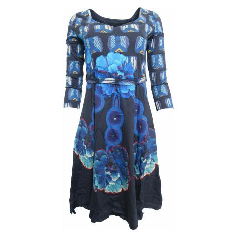 Modré šaty s červeným prošíváním Desigual