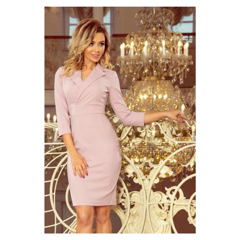 Elegantní dámské šaty v lila barvě s výstřihem model 7255296 NUMOCO