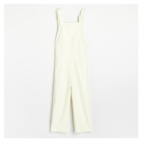 Reserved - Koženkové kalhoty s laclem - Žlutá