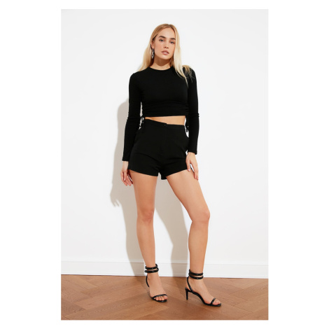 Trendyol Black Assynb Crop Knitted Blouse