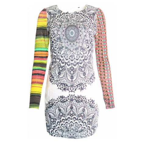 Desigual bílé šaty s barevnými rukávy