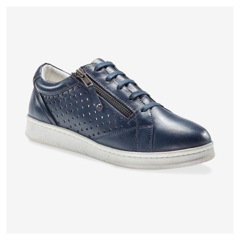 Blancheporte Kožené tenisky s perforací a zipem námořnická modrá