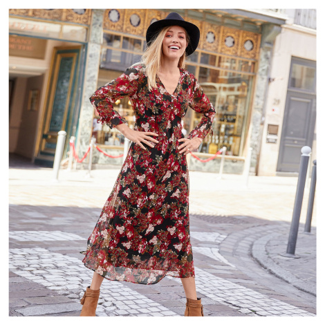 Blancheporte Dlouhé šaty potiskem černá/červená