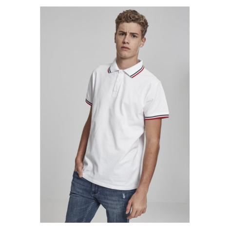 Double Stripe Poloshirt - white/navy/fire red Urban Classics