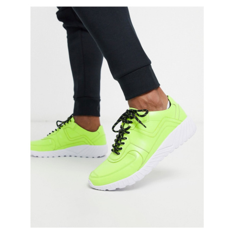 Feud London neon chunky trainer in green