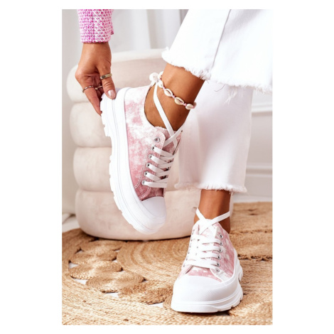 Sneakers On The Platform Pink With Tie-Dye Effect Travel Time Kesi