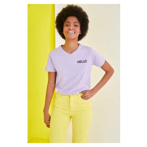 Trendyol Lila Tweety Licensed Printed Basic Knitted T-Shirt
