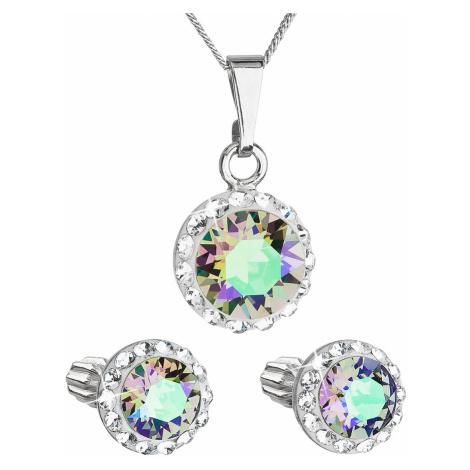 Sada šperků s krystaly Swarovski náušnice,řetízek a přívěsek zelené fialové kulaté 39352.5 parad Victum