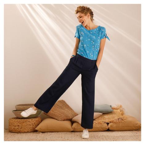 Blancheporte Široké zkrácené kalhoty nám.modrá