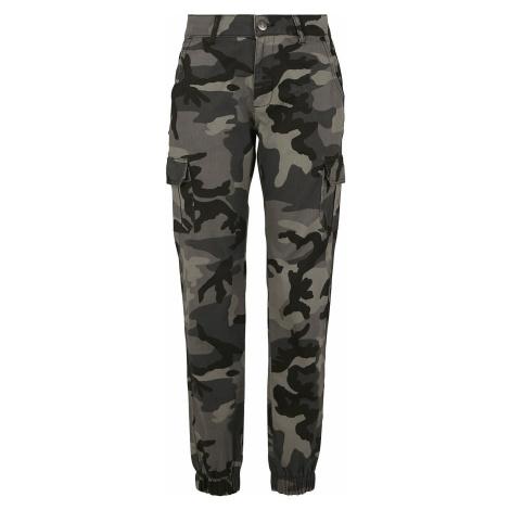 Urban Classics Dámské kamufláž kapsáčové kalhoty s vysokým pásem Cargo kalhoty tmavě maskáčová