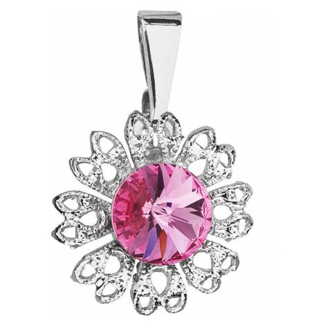 Přívěsek bižuterie se Swarovski krystaly růžová kytička 54032.3 rose Victum