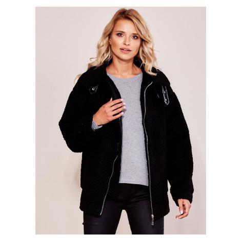 Women´s black faux fur jacket Fashionhunters
