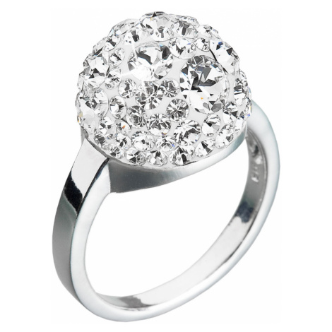 Stříbrný prsten s krystaly Swarovski bílá boule 35013.1 krystal Victum