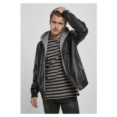 Fleece Hooded Fake Leather Jacket Urban Classics