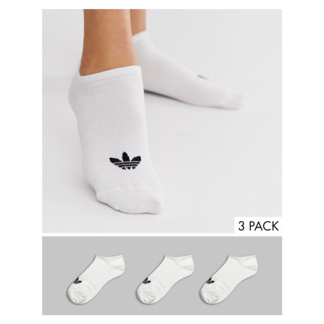 Adidas Originals 3 pack trefoil trainer socks in white