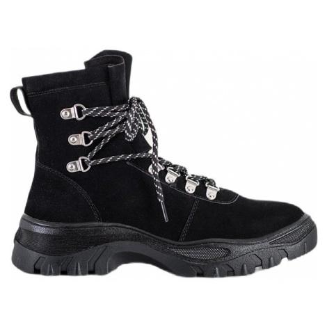 černé dámské kotníkové boty na šněrování Sergio Leone