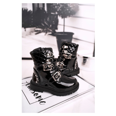 Children's Boots Warm With Fur Lacquered Black Dolly