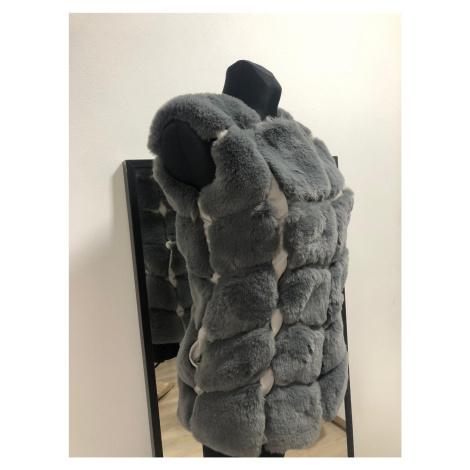 Dámská kožešinová vesta umělý kožíšek bez rukávů tmavě šedá