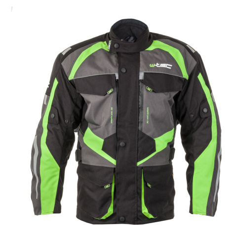 Pánská Moto Bunda W-Tec Burdys Gs-1613 Černo-Šedo-Zelená