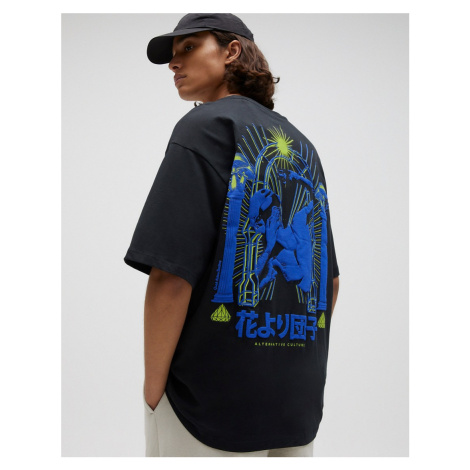 Pull&Bear t-shirt with blue and green back print in black Pull & Bear